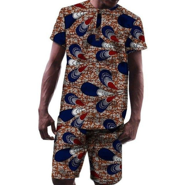 Fashion African Men Tops and Shorts Set Dashiki Cotton Wax Print Y10576