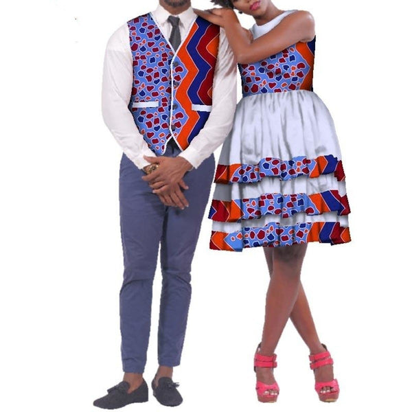 African Clothing For Family Couple Cotton Print Man Pants-Vest Woman V11666