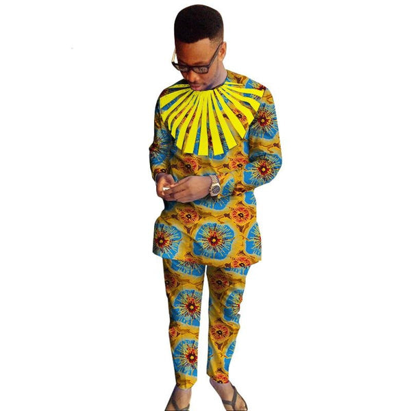 African Men Ankara Clothing Long Sleeve Dashiki Cotton Patchwork Y10838