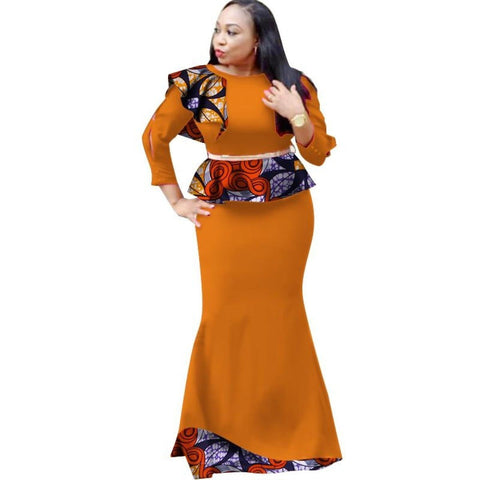 African Women Clothing 2Pcs Long Dress with Belt Dew Shoulder  X11451