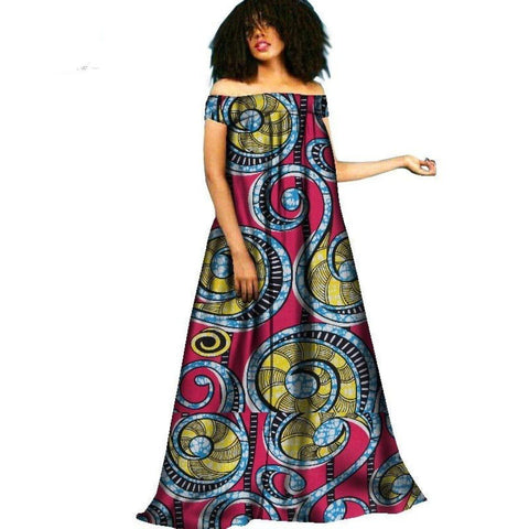 African Clothing Style Long Dress For Women Cotton Print Kitenge X11387