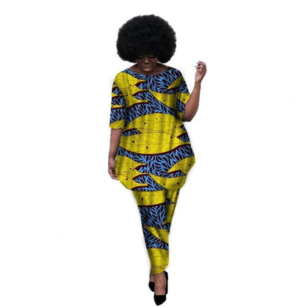 Kitenge Dashiki Print African Print Women Straight Shirt with Pants Set X10682