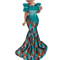 African Print Mermaid Style Long Dresses for X11377