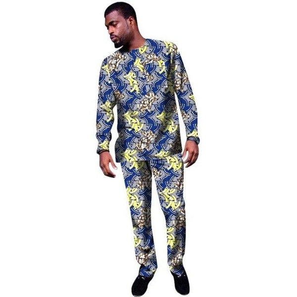 African Men Clothing Long Sleeve Tops-Pants Set Cotton Wax Y10818