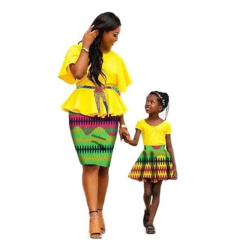 African Family Dress Women with Kids Cotton Wax Print Skirt Mum-Daughter V11585