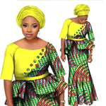 African Two Piece Set Women Mermaid Style Half Sleeve Crop Tops and Long X11028