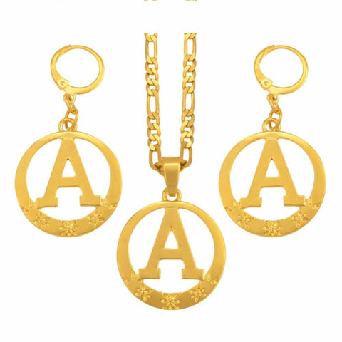 English Letter A-Z Alphabet Gold Necklace Round Earrings Initial For Q50125