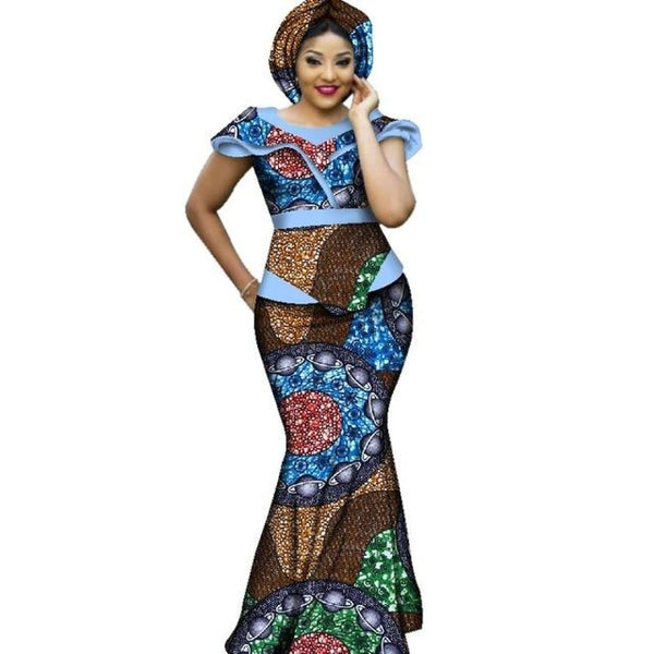 African Bazin Clothing Dashiki Ankara Bazin Design Long Party Dress For X11437
