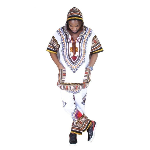 Unisex White Dashiki Set Top Hippie Blouse Hoodies and Pants Set with Y10846