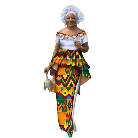 African Style Top and Long Skirt For Women Cotton Print Kitenge Ankara X10999