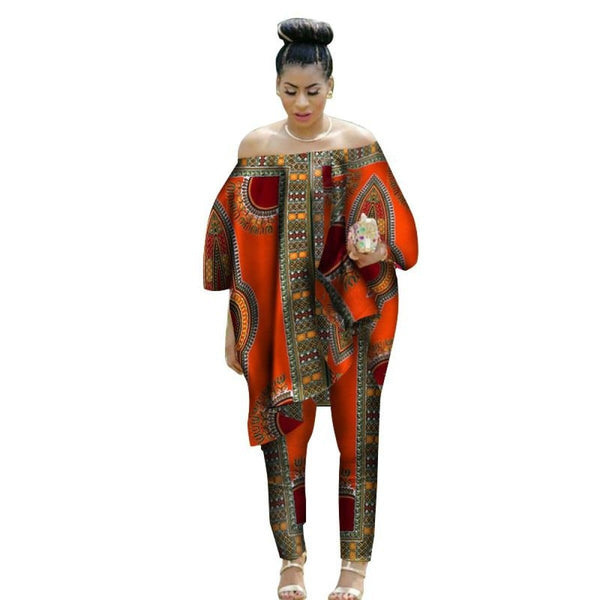 African Handmade 2Piece Dashiki Cotton Print Wax Top and Pants Set X10696