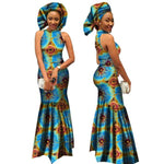 Bazin African Clothing Long Dress Dashiki Turtleneck For Women Party X11385
