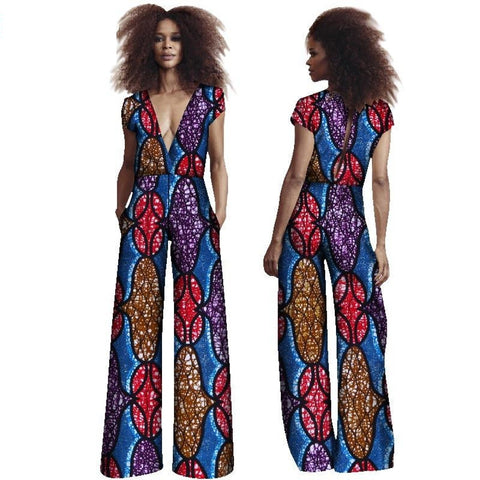 African Women Deep V Neck Jumpsuit Clothing Dshiki African Wax Print X11531