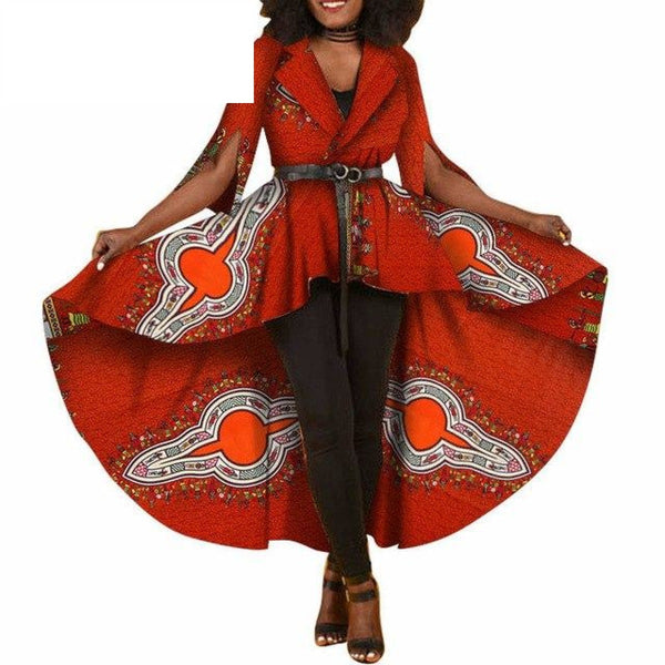 African Dashiki Print Dresses For Women Maxi Outwear Trench Coat X11505