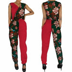 African Clothing Wax Print V-Neck Patchwork Jumpsuit For Women Bazin X11498
