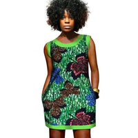 African Clothing Dashiki Wax Mini Dress Women Printed Cotton Wax Ladies X11098
