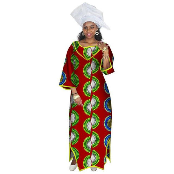 African Dresses for Women - Half Sleeve Maxi X11369
