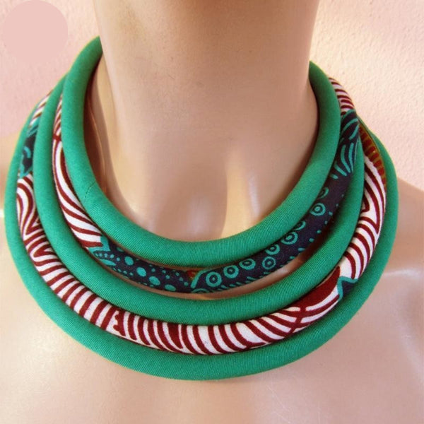 Ankara Fabric Tribal Statement Necklace Multi-Layered Handmade Jewelry Q11767