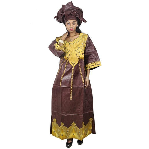 Embroidered African Dashiki Bazin Riche Brocade  Kaftan with Scarf X21189