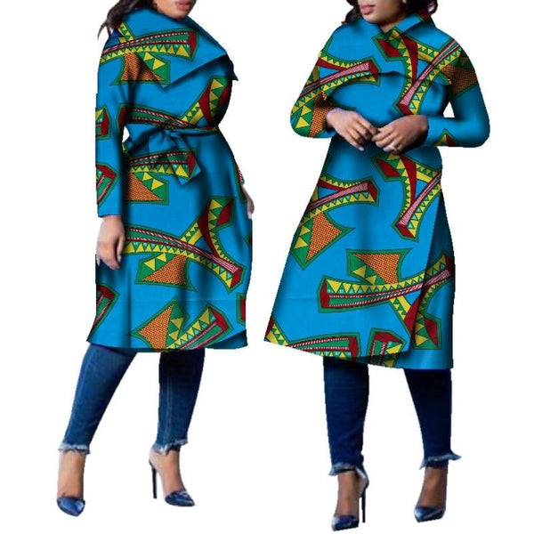 African Traditional Dashiki Trench Coat Outwear With Turn-down Collar X10421