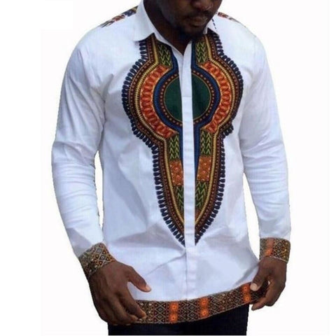 Traditional Africa Male Clothing Print Shirt Dashiki White Bazin Shirt Y10543