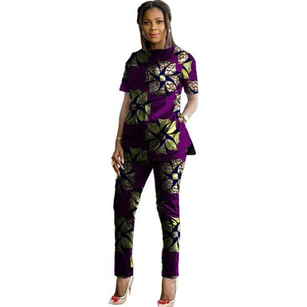 Ankara Custom African Print Women 2-Piece Top with Pants Set Ankara X10678