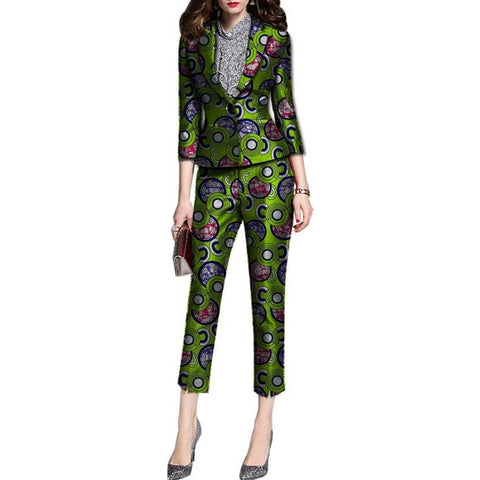 Women African Cotton Pront Slim-Fit Blazer Suit With Calf-Length Pants X10712