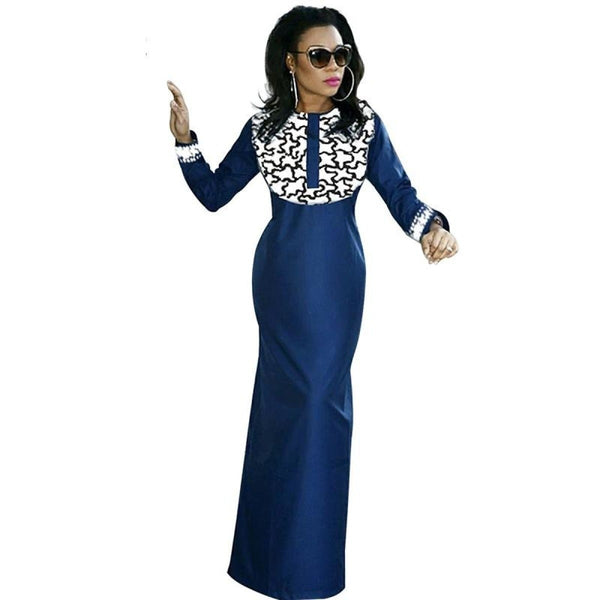 African Clothing Long Dress For Women Embroidered Bazin Soft Material X21154