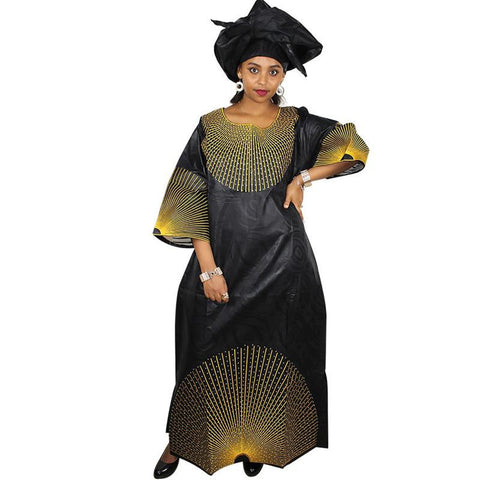 African women Embroidered Long Caftan Dress with scarf X21224