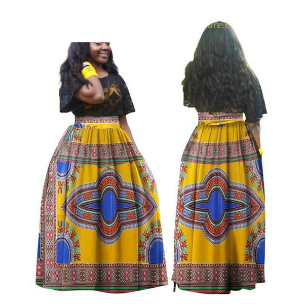 Angelina Dashiki African Traditional Print High Waist Plated Long X11126