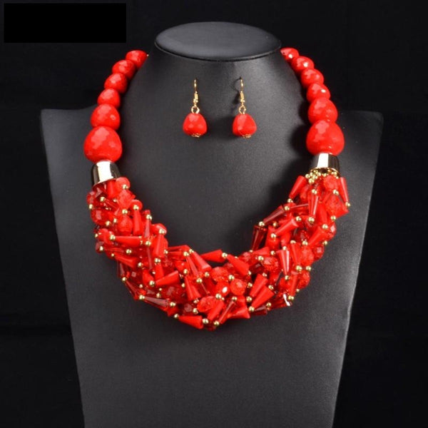 African Beads Jewelry Sets Statement Necklace Pendant Bib Beads  Q50204
