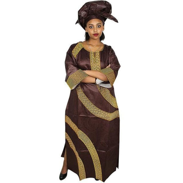 African Clothing For Women Embroidered Bazin Fabric Long Dress with Head X21277