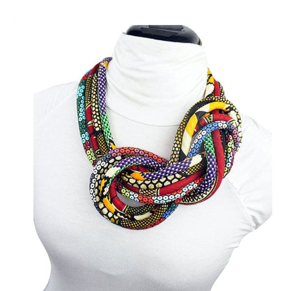 Bohemian Style Button Choker Necklace African Fabric Handmade Body Q11769