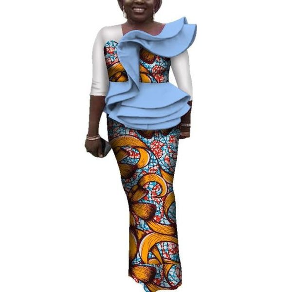 Ankara African Clothing Tops and Skirt Sets for X10982