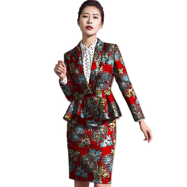Women African Dashiki Short Skirt with Blazers 2-Piece Skirt-Suit Set X10593