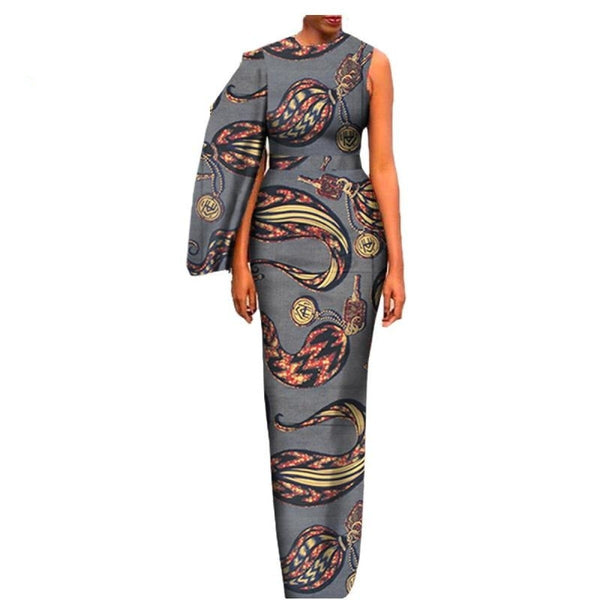 African Women Floor-Length Dress with Side Cloack Cotton Print Ankara X11413