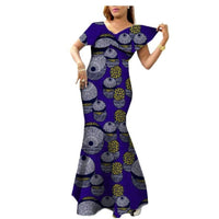 African Style Long Dress For Women Cotton Print Kitenge Ankara Wax Ankle X11405