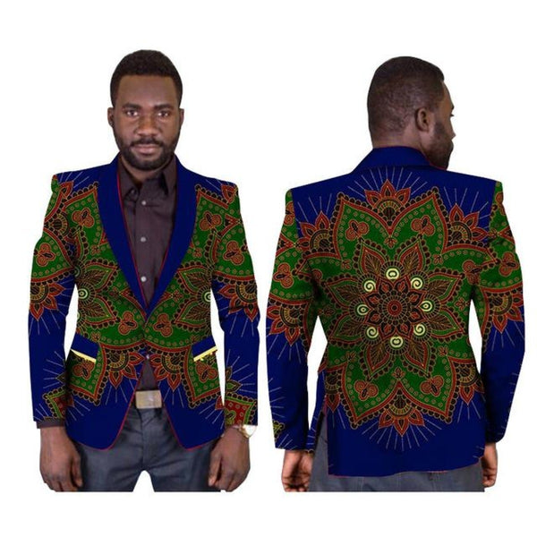 African Dashiki Cotton Print Regular Blazer Single Button Clothing Y10534