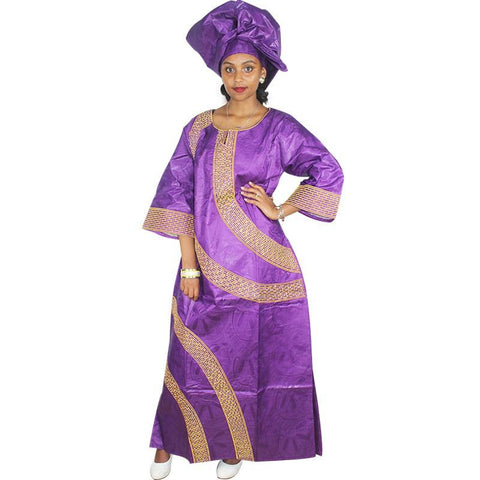 African women Embroidered Kaftan Long Gown with scarf X21223