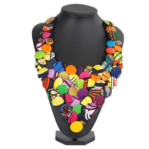 African Ankara Triangle Clothing Multicolored Cover Button Necklace Q11765