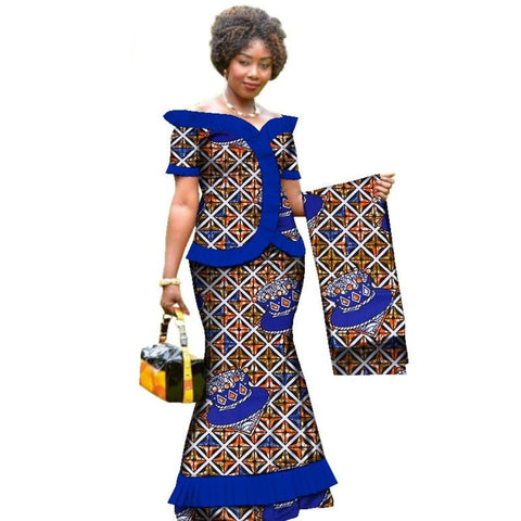 African Clothing Draped Tops-Skirt Set with Head Wrap For Women Dashiki X11021