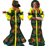Traditional African Style Long Dress For Women Bazin Cotton Print Kitenge X11411