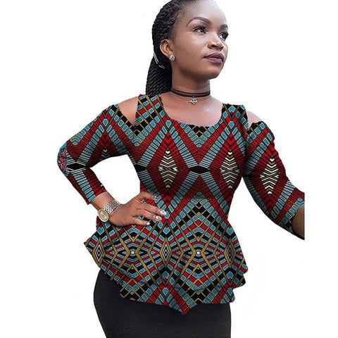 African Women Elegant Clothing Long Sleeve Shirt Bazin Cotton Wax X10396