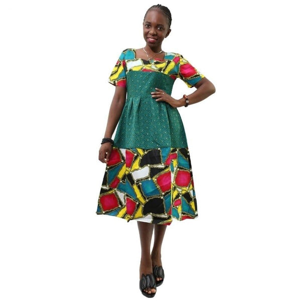 African Women Clothes Ankara Wax Batik Dresses Fashion Printing Short X11092
