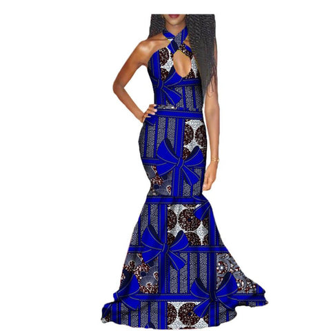 African Long Dress Floor-Length Women Cotton Print Kitenge Ankara X11386