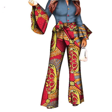 African Print Women Pant Set V-Neck Speaker Sleeve Romper Wide Leg X11527