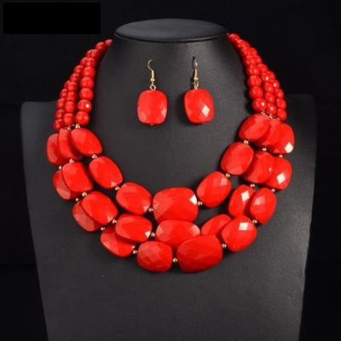 Color African Beads Jewelry Sets Multi Layer Beads Indian Jewelry Sets Q50200
