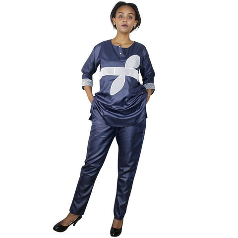 blue black white embroidered african dashiki top and pants for women X20602