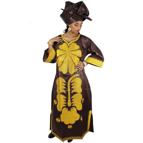 African Bazin Riche Embroidery Design Kaftan Dress for X21191