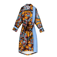 African Print Trench Coat for Women X10426